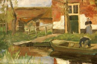 Bauernhof am Kanal mit kleinem Boot (1900-01)