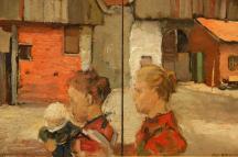 Frauen mit Kind vor Bauernhaus (1894-96)