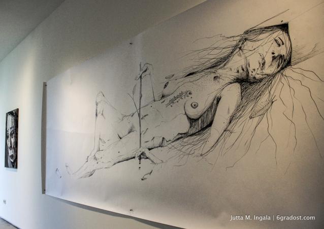 Grafit auf Papier - mit Nägeln an die Wand geheftet